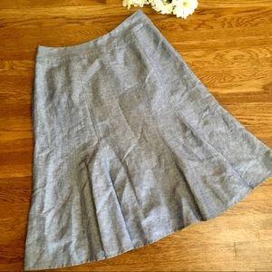 Chambray linen blend flounce circle midi skirt S